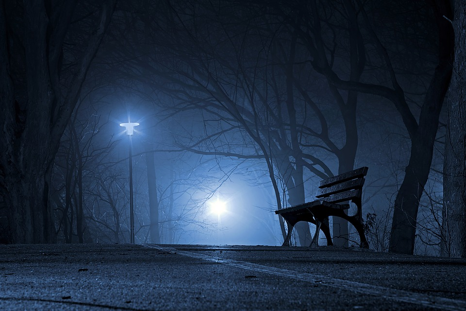 Bench in the dark with lights